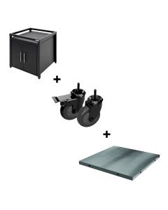 Big Green Egg Modulair Expansion Cabinet met Stainless Steel Insert & Caster Kit
